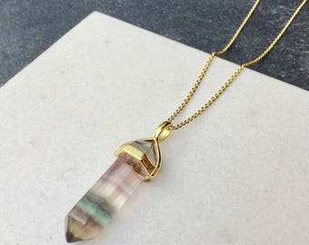 Fluorite point necklace -  Healing gemstone necklace - gemstone pendant - boho chic gemstone necklace - Mother's day gift - Wildcoastjewels