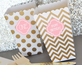 Personalized Popcorn Boxes - Candy Buffet Treat Boxes -  2|(EB4008P) - 24 pcs