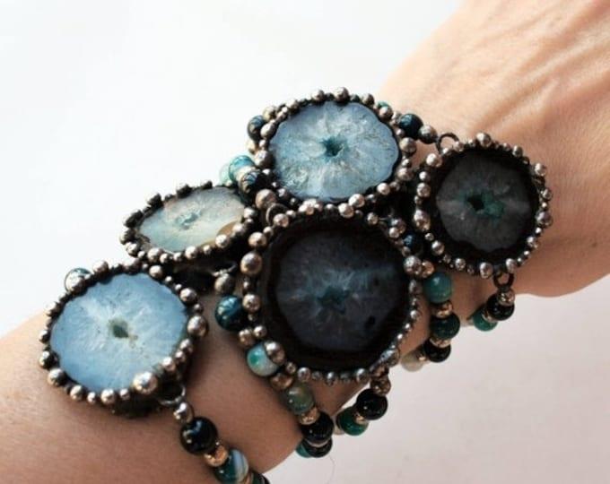 Blue Agate Slice Beaded Bracelet