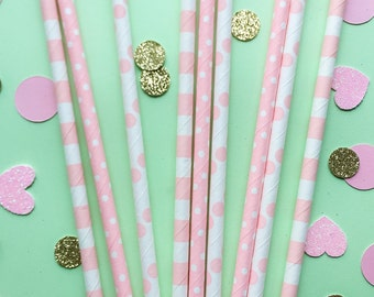 Pink Paper Straws • Bridal Shower Decor • Baby Shower Decor • Bachelorette Party • Wedding Decor • Birthday Decor • Pack of 15