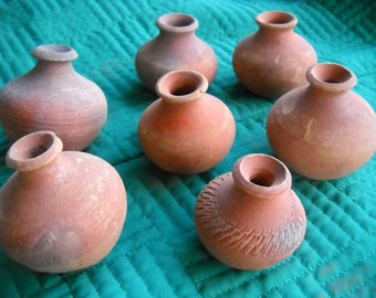 Vintage Primitive Lot Terra Cotta Pot Vase Middle Eastern Folkart Unglazed Clay