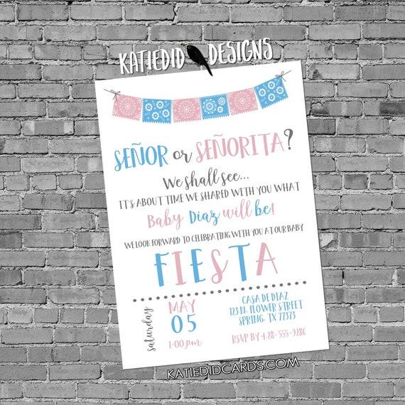 Fiesta gender reveal invitation baby shower cinco de mayo senor senorita Papel Picado couples coed twins mexican pink blue | 1487 katiedid