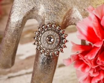 Bullet Casing Jewelry - Adjustable Sunburst '45' Wide Band Bullet Ring