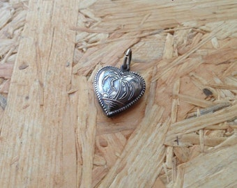 Rare Palm Tree Sterling Silver Puffy Heart Charm WWII Era