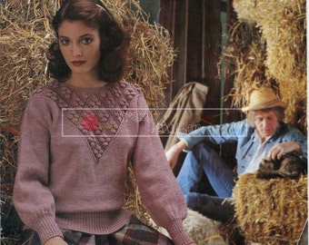 Lady's Sweater  DK 32-42in. Sirdar 5948 Vintage Knitting Pattern PDF instant download