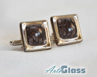 Cufflinks handmade bubble painted brown decorated with platinum, square