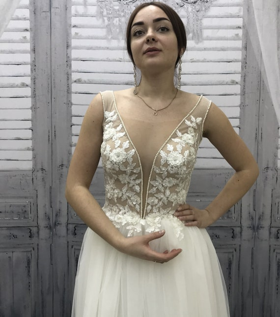 V Hals Brautkleid Brautkleid Boho Brautkleid einzigartige