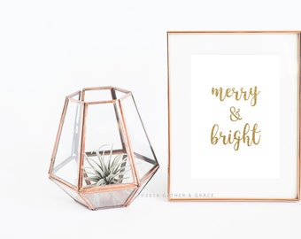 Christmas Printable | Merry and Bright | Gold Print | Holiday Print | Quote Print | Christmas Poster | Glitter Print | White and Gold, print