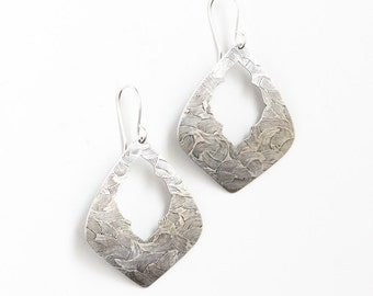 "Striking silver earrings which combine ornate elements of an ancient design with a modern geometric shape - ""Marrakesh Earrings"""