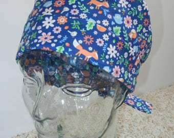 Tie Back Surgical Scrub Hat with Tiny Woodland Rabbits Foxes Owls Flowers