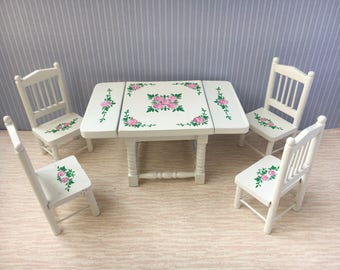 1/12 Miniature Dining Table & 4 Chairs