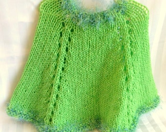 Little Girl Poncho. Neon Lime Green. Bright Spring Green. Harlequin Green. Blue and Green Eyelash Yarn. Knit Poncho. Knit Cape. Girls Poncho