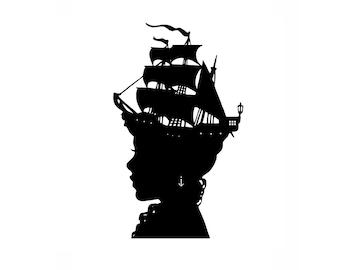 The Captain's Wife Nautical Silhouette Print Pirate Ship Black and White Beach House Decor