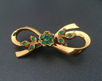 Green Rhinestone Ribbon Brooch, Gold Tone Bow Brooch with Rhinestones, Signed Coro, Vintage Jewelry
