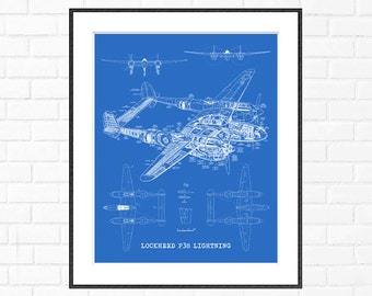 "P38 Lightning blueprint, Airplane blueprint, Instant Download, Airplane, Blueprint Art, P38 Lightning, Aviation Art, 8x10"", 11x14"", 16x20"""