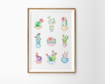Cactus poster - Colorful succulents art print - Cactus on pots print - Printable cactus art - Cactus art print - Succulent wall art