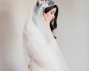 Juliet cap veil-wedding veil-fingertip veil-lace veil-beaded veil- style 101