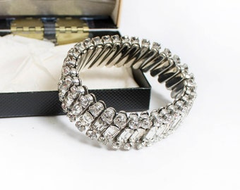 Vintage 1950s Bracelet - Rhinestone Stretch Silver Jewels Costume 50s