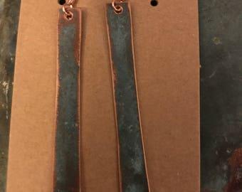 Handmade copper earrings.