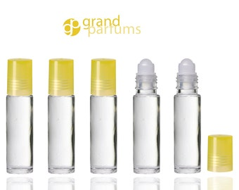 6 CLEAR Roll On Bottles w/ YELLOW CAPS Premium Roller Ball for Perfume, Essential Oil, Aromatherapy, Lip Gloss, Roll on Bottles Party Favors