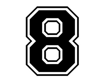 Iron on number 8 printable for t shirt transfer instant download