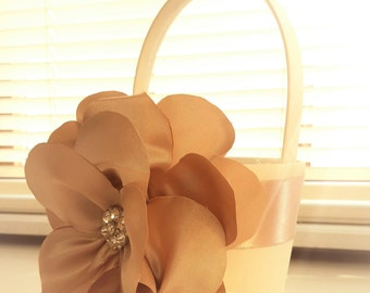Wedding Flower Girl Basket Ivory and Champagne