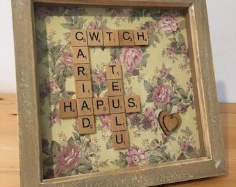 Welsh Scrabble Gift Frame, Love Happy Family Cwtch Box Frame, Welsh Gift, Anniversary Gift