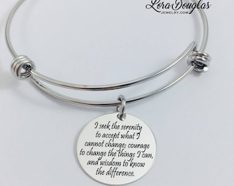 Serenity Prayer Jewelry, Serenity Prayer Necklace, Serenity Prayer Bracelet, Serenity Prayer, Sterling Silver Jewelry, Engraved Jewelry