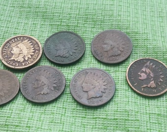 7 Indian head pennies,  nice old US coins  #F950B