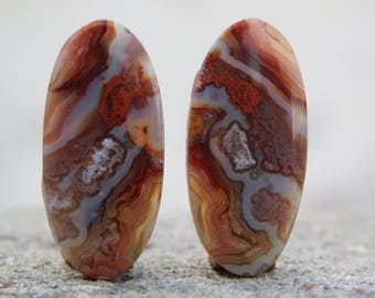 AAA+ Crazy Lace Agate pair Cabochons,Natural Crazy Lace Agate pair Loose Gemstone,Well Polished Crazy Lace Agate loose stone 26 Cts