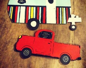 Door hanger, camper, red truck, retro, painted, finished door hanger, truck door hanger, camper door hanger.