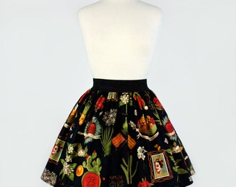 Frida and Cactus Pleated Skirt