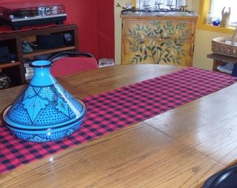 Buffalo Plaid Table Runner or Tablecloth - Black & Red Plaid (or Green, Blue, White), Christmas Plaid, Lumberjack Plaid, Buffalo Check