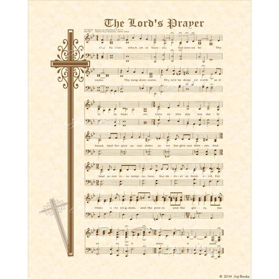 The Lord S Prayer Matthew 6 9 13 8x10 Antique Hymn Art