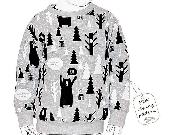 Kids sweatshirt sewing pattern PDF download sewing patterns