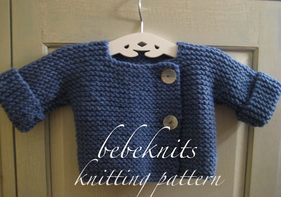 Simple french style baby cardigan knitting pattern zoom dt1010fo