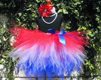 Red, White, Blue Custom Sewn 3 Tiered Pixie Tutu - GLORY - sizes Newborn to 5T - Fourth of July, Patriotic Parties, and Military Homecomings