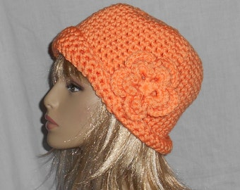 Bright Orange Crochet Hat with Removable Flower - FREE SHIPPING to United States