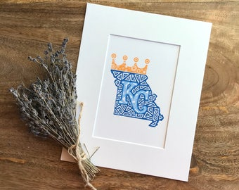 Kansas City Royals Zentangle Print, KC Royals, Baseball, Zentangle, Missouri, MLB, Art Print