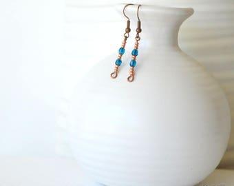 Small Copper Earrings, Lightweight Earrings, Dark Blue, Glass Earrings, Boho Earrings, Small Glass Earrings, Small Drop Earrings, Delicate