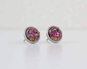 Pink Gold Blue Druzy Crystal Earrings   ATL-E-213