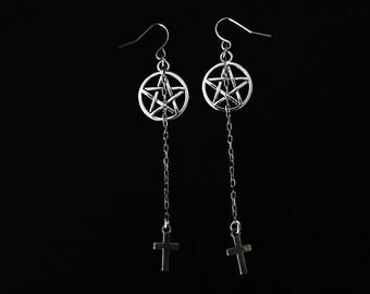 Gothic pentagram earrings / Cross earrings / Chain earrings