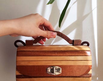 Vintage Boho Chic Bag Small Wood Purse Box Bag with Top Handle and Shoulder Strap
