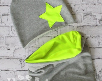 Neon Hat Massive Beanie Tube Scarf, Hat Star Fluorescent Hot, Baby Summer Spring Hat,