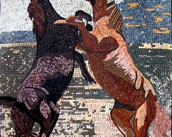 Two Horses Marble Mosaic