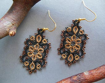 Tatting  earrings, tatted lace jewelry, lace earrings, gift for her, vintage style jewelry, black, brown,