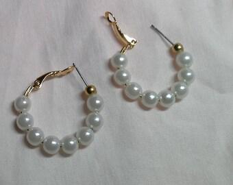 Dainty pearl hoops