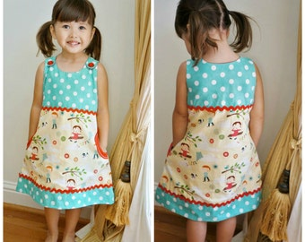 Pinafore PDF Sewing Pattern - Mimi - Toddler dress, girls dress sewing pattern, girls pinafore sewing pattern