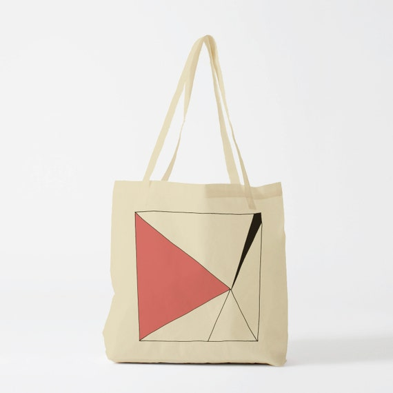 Tote Bag Pink triangle in a square. Sports bag, swimming bag, yoga bag, groceries bag, school bag, laptop bag.