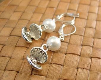 SALE:  Open Clam Shell and Glass Pearl Earrings - 60% Off